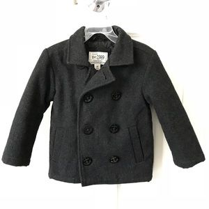Other - Toddler Boys Gray Double Breasted Lined Pea Coat